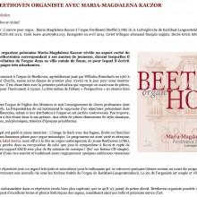 Découverte de Beethoven organiste avec Maria-Magdalena Kaczor